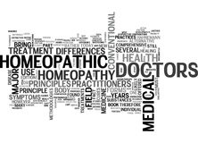 A Comparison Between Homeopathic Doctors And Medical Physicians Word Cloud Royalty Free Stock Images