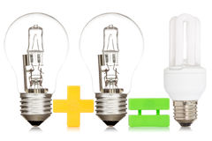 Comparison between a light bulbs Stock Photos