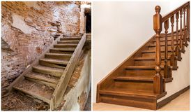 Comparison of modern brown wooden oak staircase with carved railing in new renovated apartment interior and old ladder stairs. Before renovation and after royalty free stock photos