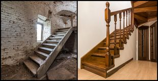 Comparison of modern brown wooden oak staircase with carved railing in new renovated apartment interior and old ladder stairs. Before renovation and after stock image