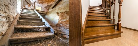 Comparison of modern brown wooden oak staircase with carved railing in new renovated apartment interior and old ladder stairs. Before renovation and after stock images