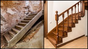 Comparison of modern brown wooden oak staircase with carved railing in new renovated apartment interior and old ladder stairs. Before renovation and after royalty free stock image