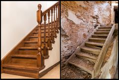 Comparison of modern brown wooden oak staircase with carved railing in new renovated apartment interior and old ladder stairs. Before renovation and after stock photo