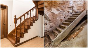 Comparison of modern brown wooden oak staircase with carved railing in new renovated apartment interior and old ladder stairs. Before renovation and after stock photos