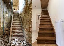 Comparison of modern brown wooden staircase in new renovated apartment interior and old ladder stairs. Before renovation and after. House reconstruction collage stock images