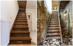 Comparison of modern brown wooden staircase in new renovated apartment interior and old ladder stairs. Before renovation and after. House reconstruction collage royalty free stock images