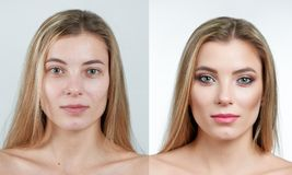 Comparison photo of a beautiful blonde girl without and with makeup. Comparison photo of a beautiful blonde girl with long hair without and with makeup. Photo Royalty Free Stock Images