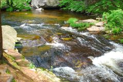 Comparison photo of similar image of stream rushing through a rocky bed, this image shot at high shutter speed. Green grass and trees, brown rocks in stream royalty free stock photos