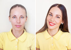 Before and After. Comparison of photos before and after makeup and hairstyling Royalty Free Stock Photo