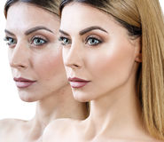 Adult woman before and after retouch Royalty Free Stock Images