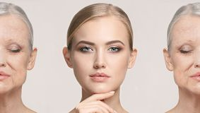 Comparison. Portrait of beautiful woman with problem and clean skin, aging and youth concept, beauty treatment royalty free stock photography