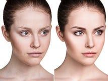 Comparison portrait of young woman. Comparison portrait of young woman before and after make-up stock image