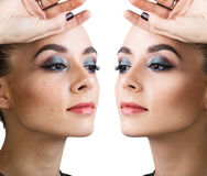 Comparison portrait of young woman. Before and after retouch royalty free stock image