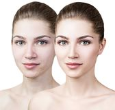Young woman before and after retouch. Stock Image