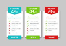 Comparison pricing list. Price plan table, product prices comparative tariff chart. Business infographic option banner