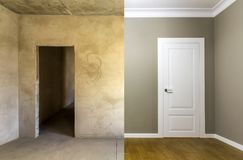 Comparison of a room in an apartment before and after renovation Royalty Free Stock Photography