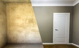 Comparison of a room in an apartment before and after renovation. New house Royalty Free Stock Image
