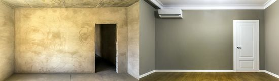 Comparison of a room in an apartment before and after renovation. New house Royalty Free Stock Images