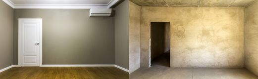 Comparison of a room in an apartment before and after renovation. New house Stock Photography