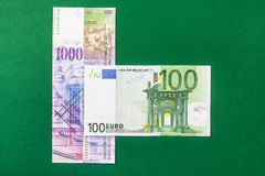 Comparison of Swiss francs and euros. On green background Stock Photography