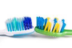 Comparison of toothbrush with  round tip bristle and tapered bri Royalty Free Stock Images