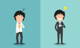 The comparison of two businessmen for their work enthusiasm. Illustration,vector Royalty Free Stock Images