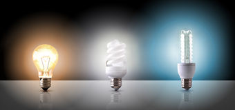 Comparison between various types of light bulb on black backgrou Royalty Free Stock Photo
