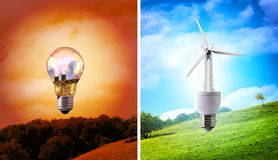 Comparison between various types of light bulb environmental con Stock Images