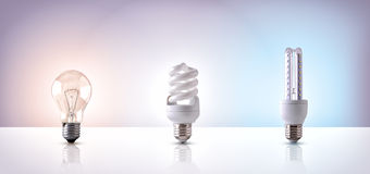 Comparison between various types of light bulb on white backgrou Stock Photography