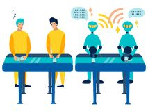 Comparison workers are humans and robots. Mood on the conveyor phones. In minimalist style. Cartoon flat Vector. Illustration stock illustration