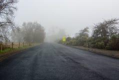 Comparta el camino en una mañana de niebla Imagenes de archivo