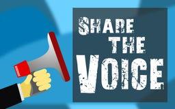 Comparta la palabra de la voz con el icono del megáfono ilustración del vector