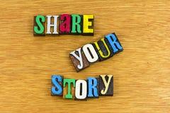 Comparta su prensa de copiar de la frase de la historia imagen de archivo libre de regalías