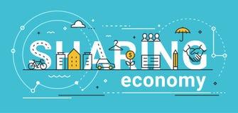 Compartilhando da linha ilustração da economia do conceito do vetor Fotografia de Stock