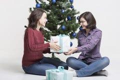 Compartilhando de presentes do Natal Imagens de Stock