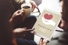 Compartilhar está importando-se a doação do dinheiro dá o conceito Fotos de Stock