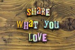Compartilhe de sua cópia da tipografia da história do coração da vida da caridade do amor ilustração stock