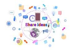 Compartilhe do negócio Team Brainstorming Process Banner do conceito das ideias ilustração stock