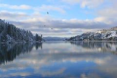 Compartiment de beauté sur le lac de d'Alene de Coeur, Idaho Images libres de droits