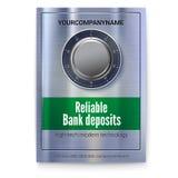Compartiment de coffre-fort pour stocker l'argent Affiche pour des services bancaires Serrure sûre sur la surface métallique avec illustration libre de droits