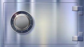 Compartiment de coffre-fort pour stocker l'argent Serrure sûre sur la surface métallique avec la texture Serrure de combinaison m illustration stock