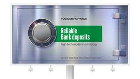 Compartiment de coffre-fort pour stocker l'argent sur le panneau d'affichage Serrure sûre sur la surface métallique avec la textu illustration libre de droits