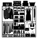 Compartiment de garde-robe de cabinet pour la mode de femme de l'homme illustration libre de droits