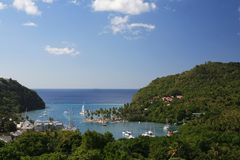 Compartiment de Marigot, St Lucia images stock