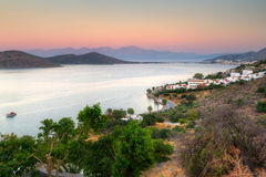 Compartiment de Mirabello sur Crète au lever de soleil Images libres de droits
