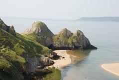 Compartiment de trois falaises, Gower Image stock