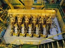 Compartiment réacteur de pétrolier Vue de moteur diesel images stock