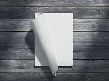 Compartimento com as folhas do papel vazio rendição 3d Imagem de Stock Royalty Free