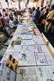 Compartimentos pequenos na feira de livro de Kolkata - 2014 Imagens de Stock