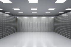 Compartiments de coffre-fort à l'intérieur de chambre forte de banque illustration stock